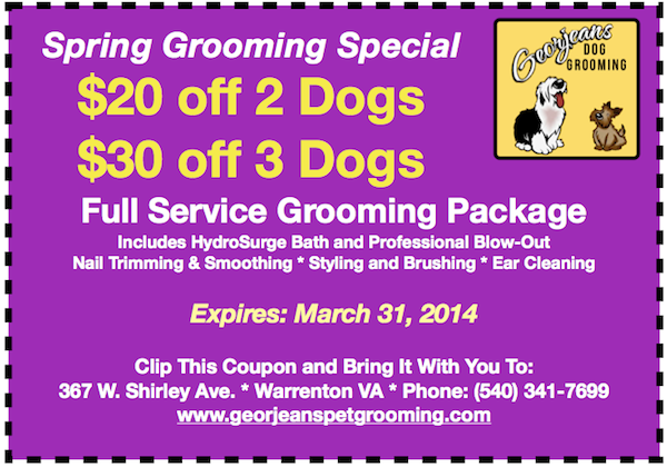 March 2014 Dog Grooming Coupon
