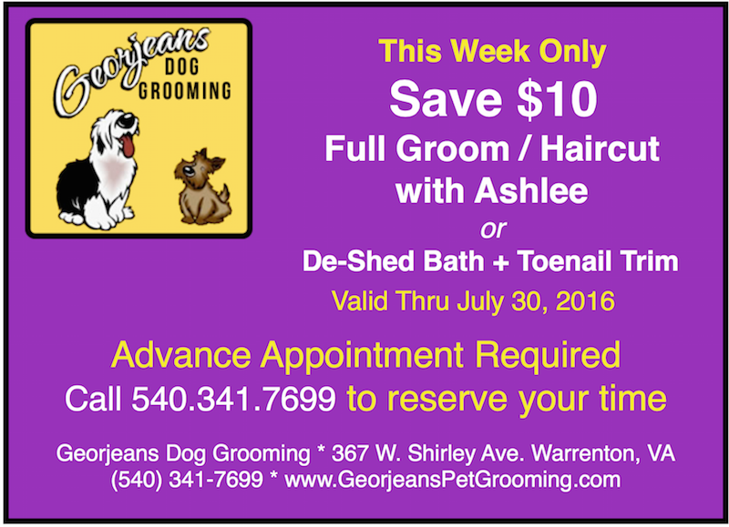 July dog grooming special Georjeans Dog Grooming Warrenton VA